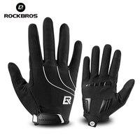 ROCKBROS полнопальцевые ветрозащитные велосипедные перчатки для верховой езды  велосипедные перчатки для мужчин и женщин  гелевые велосипедны...
