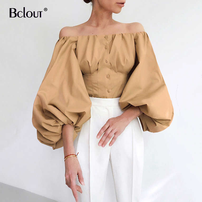 Bclout Off Shoulder Elegent Vrouwen Blouse Vintage Knop Latern Mouwen Sexy Office Shirts Blouses Lady 2020 Zomer Top Vrouwelijke