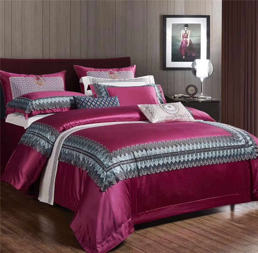 French Chic 1000tc Egyptian Cotton Royal Luxury Bedding set King Queen Size  Lace Duvet Cover Bed sheet Fitted sheet Pillowcase