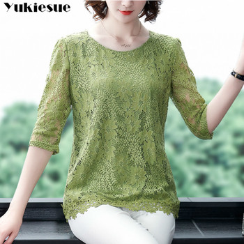 2020 summer women's shirt blouse for women blusas womens tops and blouses lace hollow out sexy shirts ladie's top plus size 1