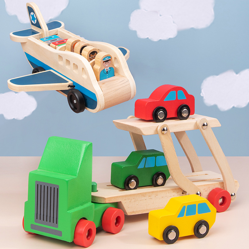 baby Wooden Double Decker Truck Toy Transport vehicle Aviation aircraft Model Wooden Toys for Children image