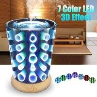 100ml 3d vidro umidificador de ar com luz da noite led aroma óleo essencial aromaterapia difusor névoa criador umidificador ultra sônico Umidificadores Eletrodomésticos -