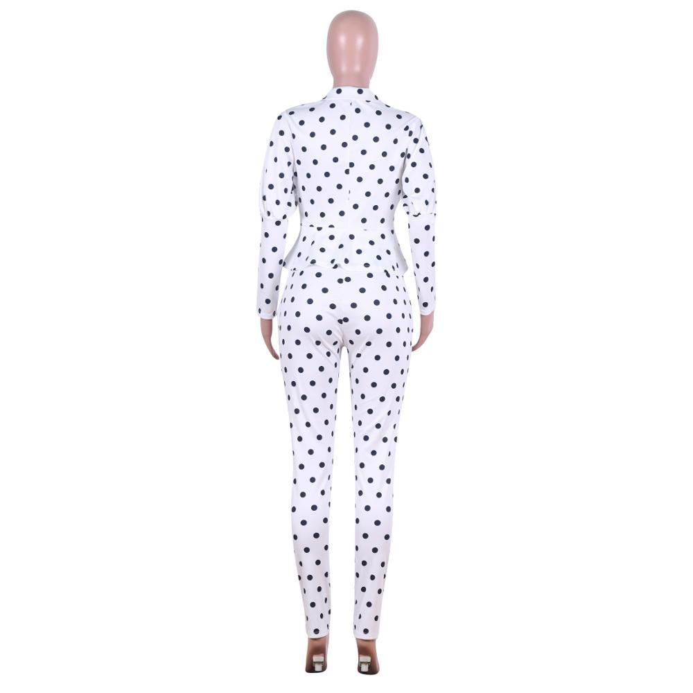 2020 New Spring Fall Women's Formal Two Pieces Set Women Polka Dot V-Neck Ruffles Hem Tight Waist Blazer Coat & Pencil Pant Sets