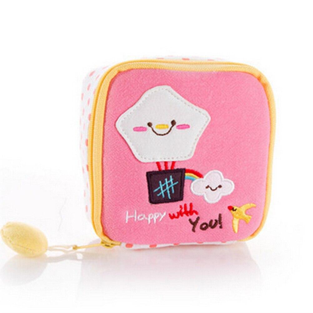 1PCS Sanitary Napkin Bag Case Women Napkins Organizer Storage Bag Cute Cartoon Easy Small Articles Zipper Catton Gather Pouch