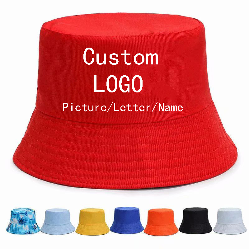 Custom Unisex Summer Bucket Hat Women Outdoor Sunscreen Fishing Hunting Cap Men Sun Prevent Hats Print Logo Text Fishman Caps