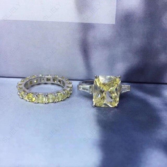 Sljely Echt 925 Sterling Zilveren Grote Zirconia Geel Wit Rechthoek Dubbele Ring Voor Vrouwen Wedding Engagement Party Sieraden