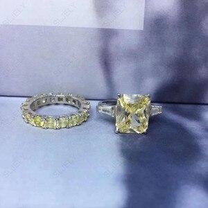 Image 1 - Slzely anillo doble rectangular para mujer, Circonia cúbica grande, Plata de Ley 925 auténtica, amarillo, blanco, joyería para fiesta de compromiso