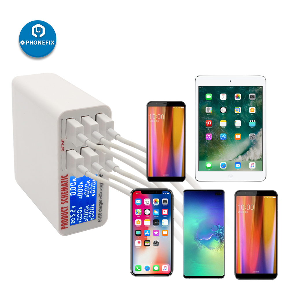 PHONEFIX 30W Multi-Port USB Travel Charger EU US UK Plug For IPhone IPad Pro Mini 1 2 3 Rapid Charging Station With LCD Display