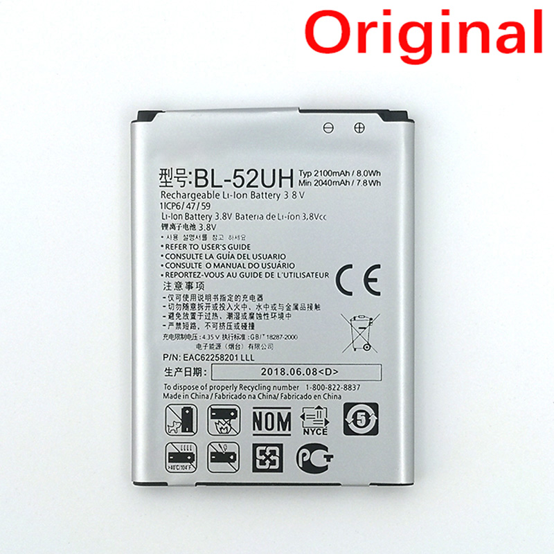 100% Original BL-52UH <font><b>2100mAh</b></font> <font><b>Battery</b></font> For <font><b>LG</b></font> Spirit H422 D280N D285 D320 D325 DUAL SIM H443 Escape 2 VS876 L65 L70 MS323 image