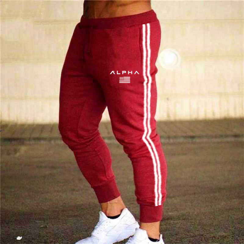 Hot Sale Workout Jogging Pants Men Striped Sport Sweatpants Short Casual Long Pants Men Fitness Joggers Bodybuilding Trousers