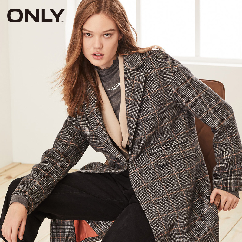 ONLY Women British Style Loose Fit Sheep Check Wool Coat | 11934S523