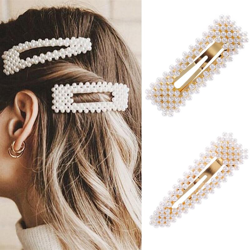 2019 New Fashion Pearl Hair Clip For Women Elegant Korean Design Snap Barrette Stick