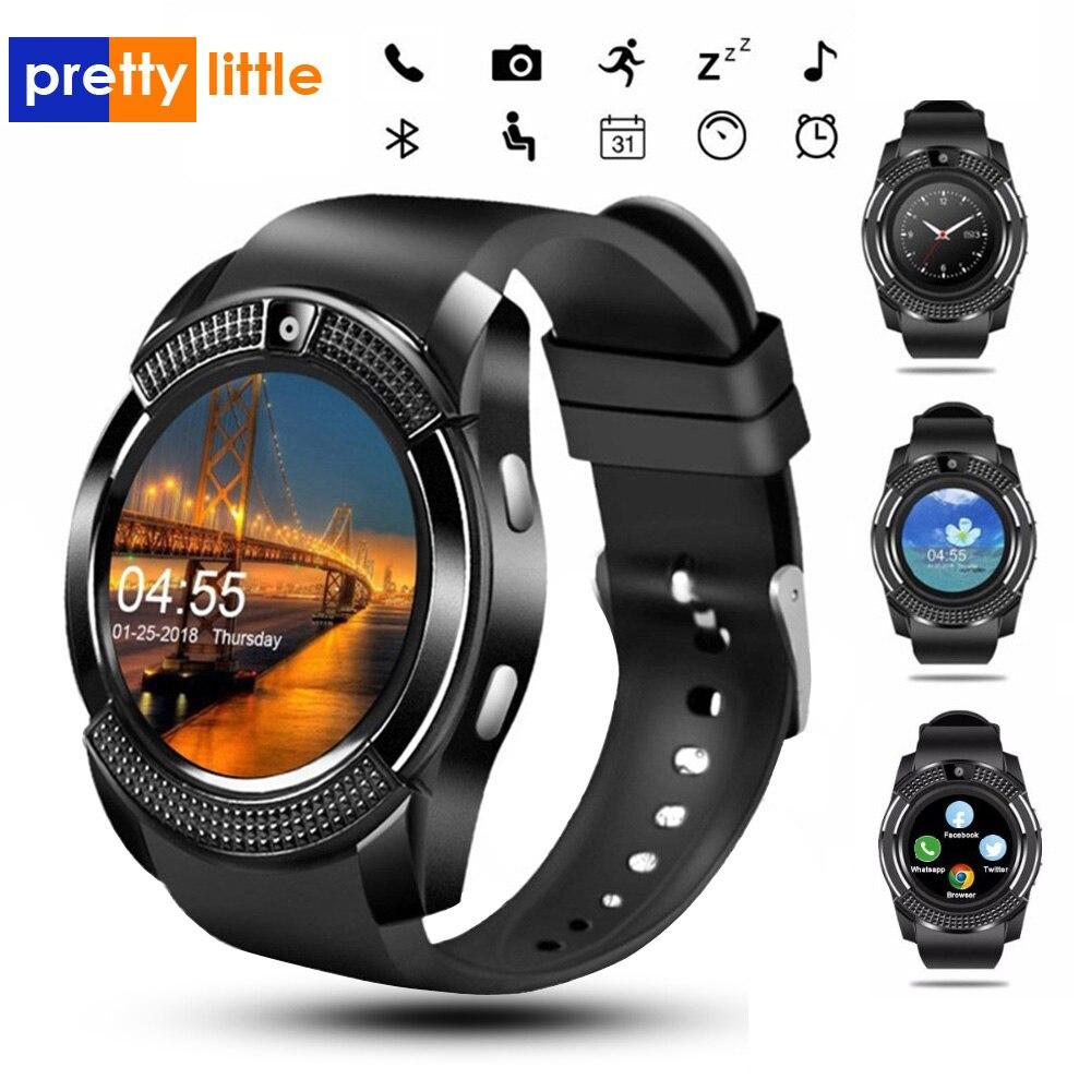 Esporte masculino relógio inteligente v8 sim cartão android câmera arredondada chamada dial chamada smartwatch freqüência cardíaca rastreador de fitness