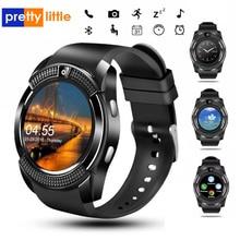 Spor erkekler akıllı saat v8 sim kart android kamera yuvarlak cevap çağrı arama Smartwatch egzersiz kalp atışı takip cihazı