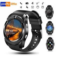 ספורט גברים שעון חכם v8 כרטיס ה sim אנדרואיד מצלמה מעוגל תשובה שיחת חיוג שיחת Smartwatch קצב לב כושר Tracker
