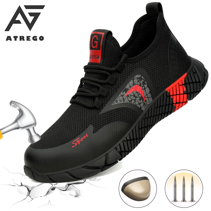 AtreGo Mens Mesh Safety Shoes Steel Toe Construction Indestructible Shoes Light Breathable Non-Slip Puncture Proof Safety Shoes