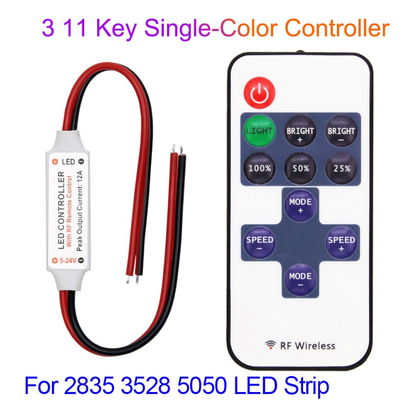 Single Color LED Controller 5V 12V 24V Mini 3 Key 11 Key RF Remote Controller For 5050 3528 2835 LED Strip