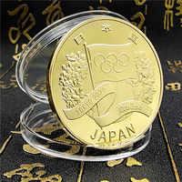 Tokoy-Juego Olímpicos de Japón, moneda de recuerdo plateada de oro plateado, monedas conmemorativas, regalo, 2020
