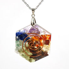 FYJS Unique Rose Gold Color Spiral Hexagon Rainbow Stone and Resin Pendant Necklace Orgonite Healing Chakra Jewelry(China)