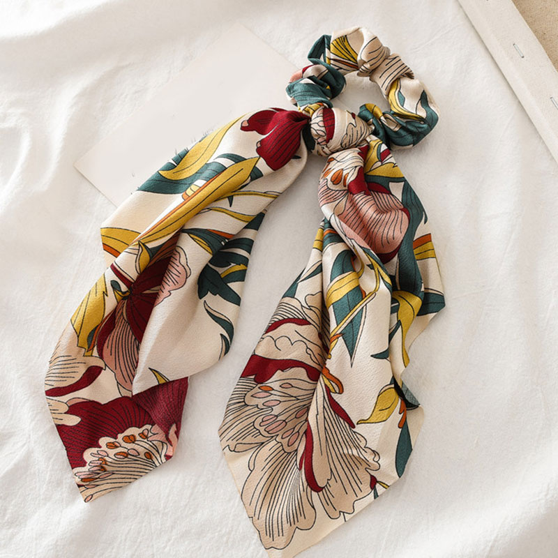 Bohème grande fleur chouchous longs banderoles arc cheveux écharpe femmes filles doux cheveux corde cravates mode cheveux accessoires chapeaux 37
