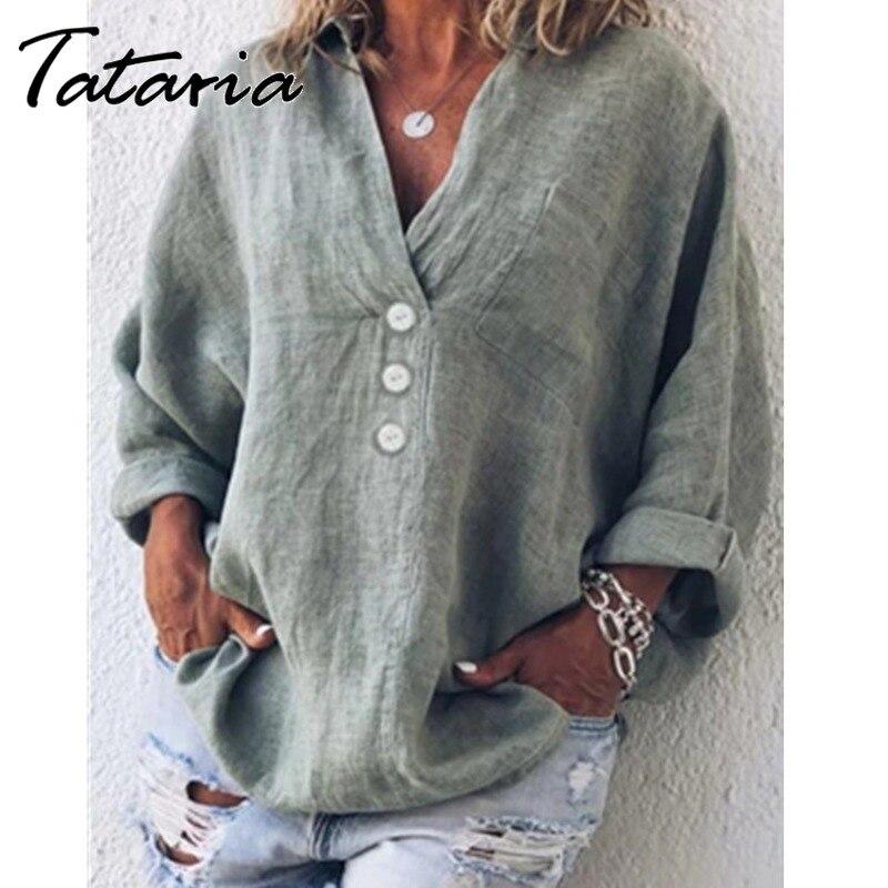 Women Tops and Bloues Summer Cotton Linen Vintage Blouses Loose Plus Size Shirt Khaki V Neck Casual Tops for Women Orange4XL 5XL Women Women's Blouses Women's Clothings