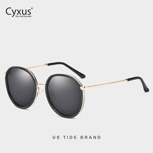 Image 2 - Cyxus Retro Ronde Gepolariseerde Zonnebril Voor Vrouwen Uv 400 Mirrored Brillen 1001