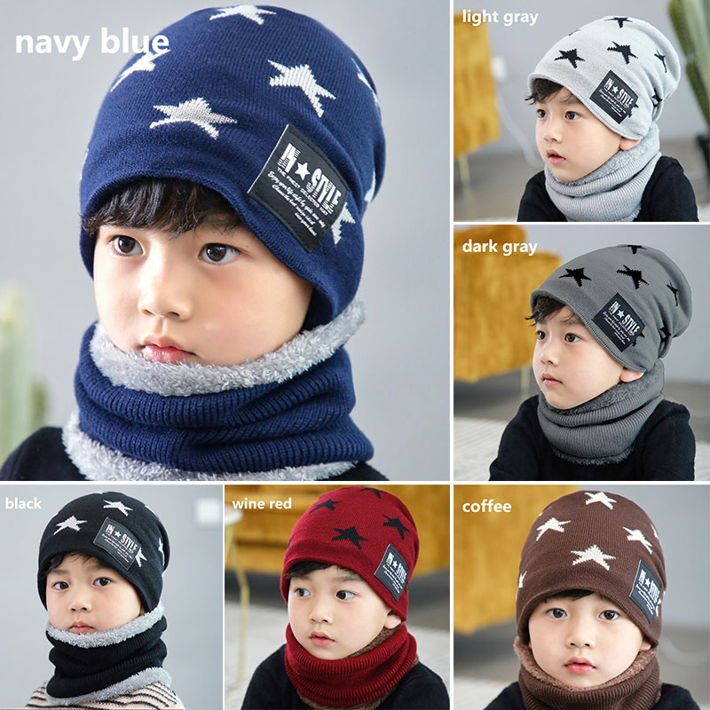 Fashion Girl Boy Winter Warm Knitted Hat Scarf Set Kids Beanie Hats Winter Hat For Children Skullies Caps