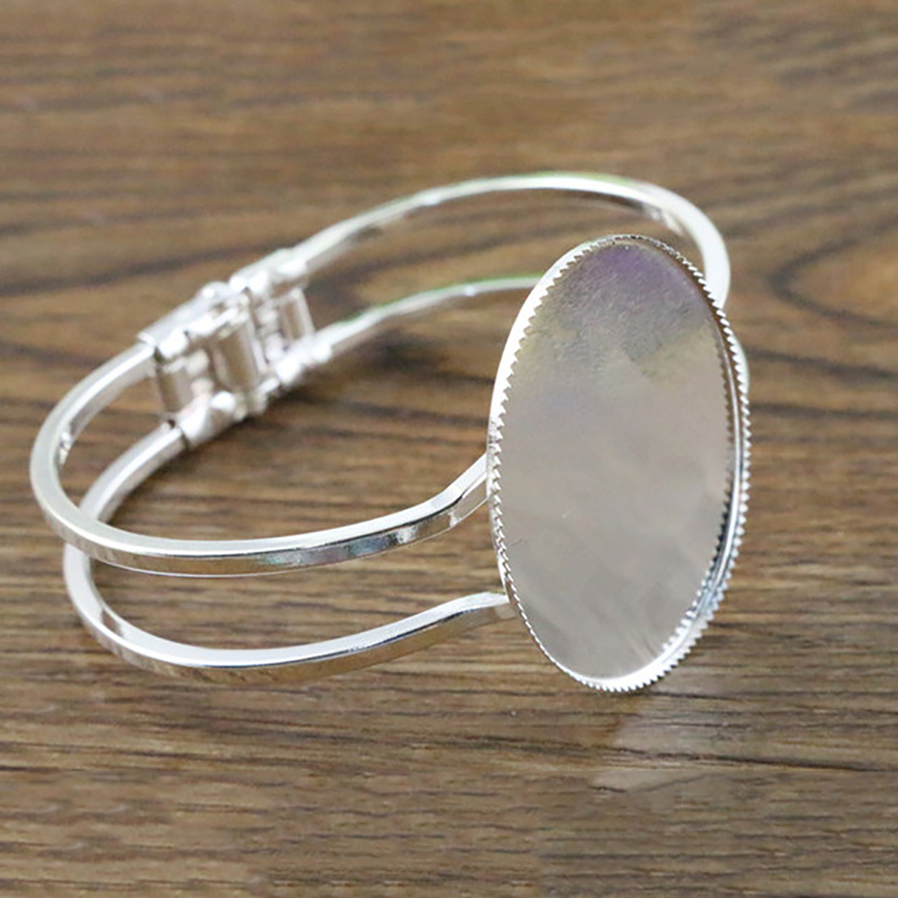 High Quality  30*40mm Silver Plated Oval Bangle Base Bracelet Blank Findings Tray Bezel Setting Cabochon Cameo  (L6-30)