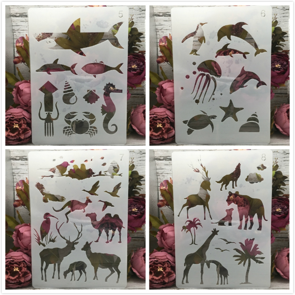4Pcs A4 29cm Shark Giraffe Ocean Forest Animals DIY Layering Stencils Painting Scrapbook Coloring Embossing Decorative Template