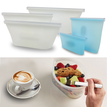 Lunch Box Food Container Portable Rice Container Dinnerware Sets Reusable Silicone Food Bag Fresh Leakproof Sealed Bags 1