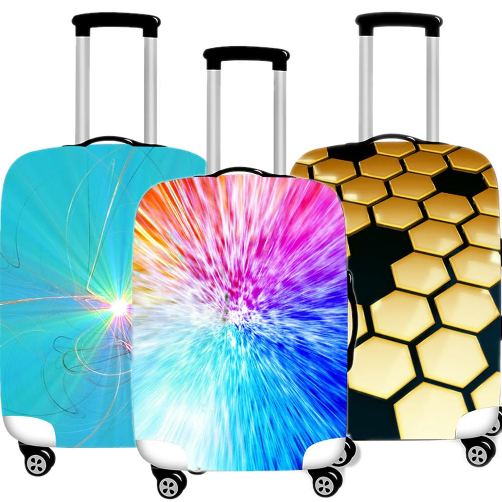 Abstract Printing 3D Luggage Cover Protective Case Waterproof Thicken Elastic Suitcase Case Apply 18-32 Inch Travel Accessorie
