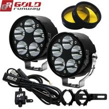 Goldrunway diseños 50X deporte de iluminación LED Universal + soporte 360 + Kit de arnés de cableado con interruptor de relé + claro o yeProtected lente