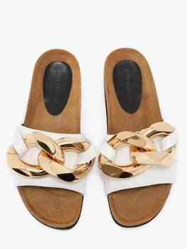 LLOGAI 2021 New Women Slipper Fashion Big Gold Chain Sandals Shoes Round Toe Slip on Mules Flat Heel Casual Slides Flip Flops