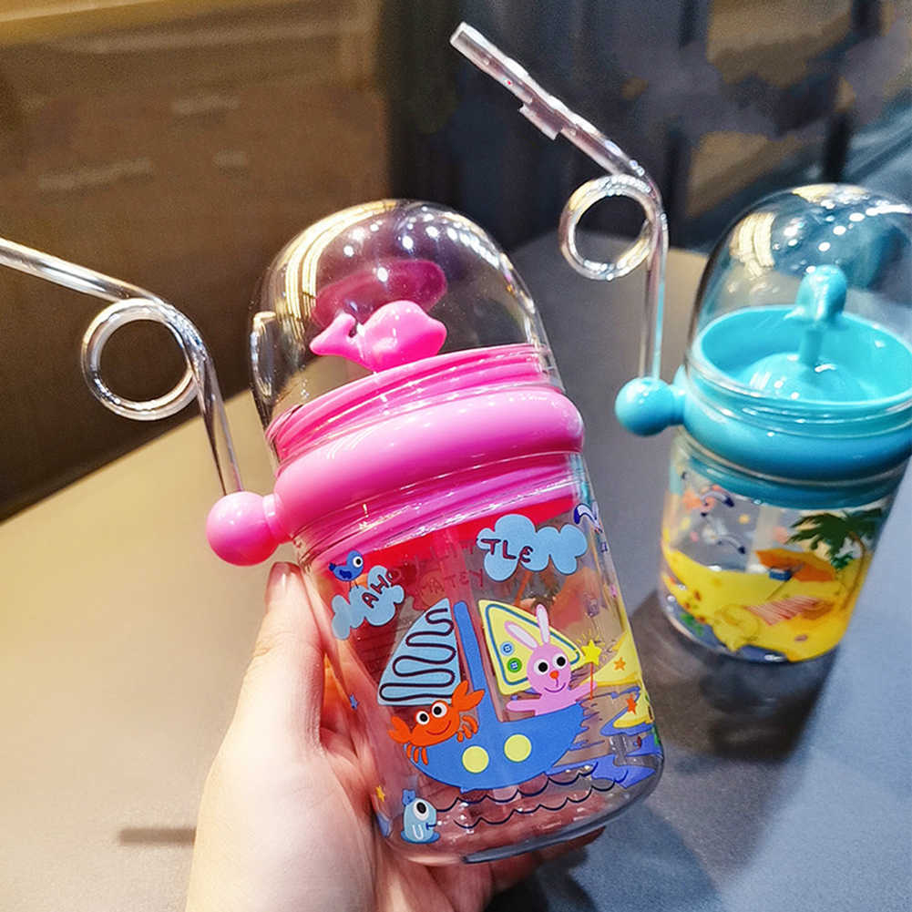250 Ml Kinderen Waternevel Cup Cartoon Walvis Baby Voeden Bekers Met Stro Waterfles Outdoor Mokken