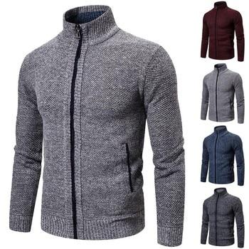 Nuevo suéter de Navidad para hombres Casual 2019, suéter de cuello grueso mandarín con cremallera,