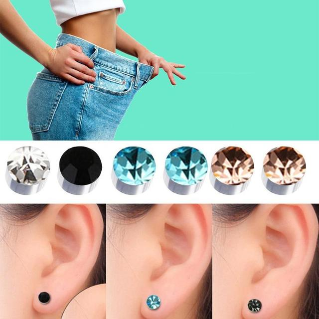1 Pair Magnetic Slimming Earrings Lose Weight Body Relaxation Massage Slim Ear Studs Patch Health Jewelry 3