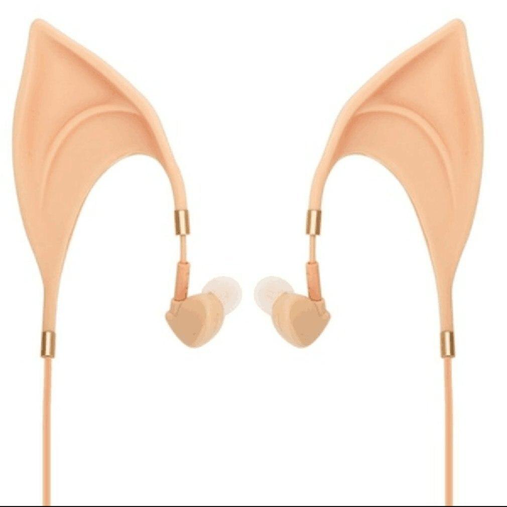 Cute Elf Shape Earphone Noise Reduction In-ears Design Universal Wired Drive-by-wire Earphones Ear Cup Built-in Microphone