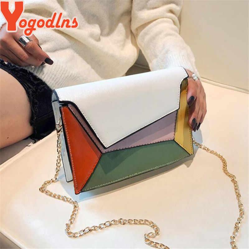 Yogodlns elegancki kontrast kolor kobiety sprzęgła torba łańcuchowe torby na ramię Flap Messenger torba ze sznurkiem Patchwork PU skóra torba na ramię