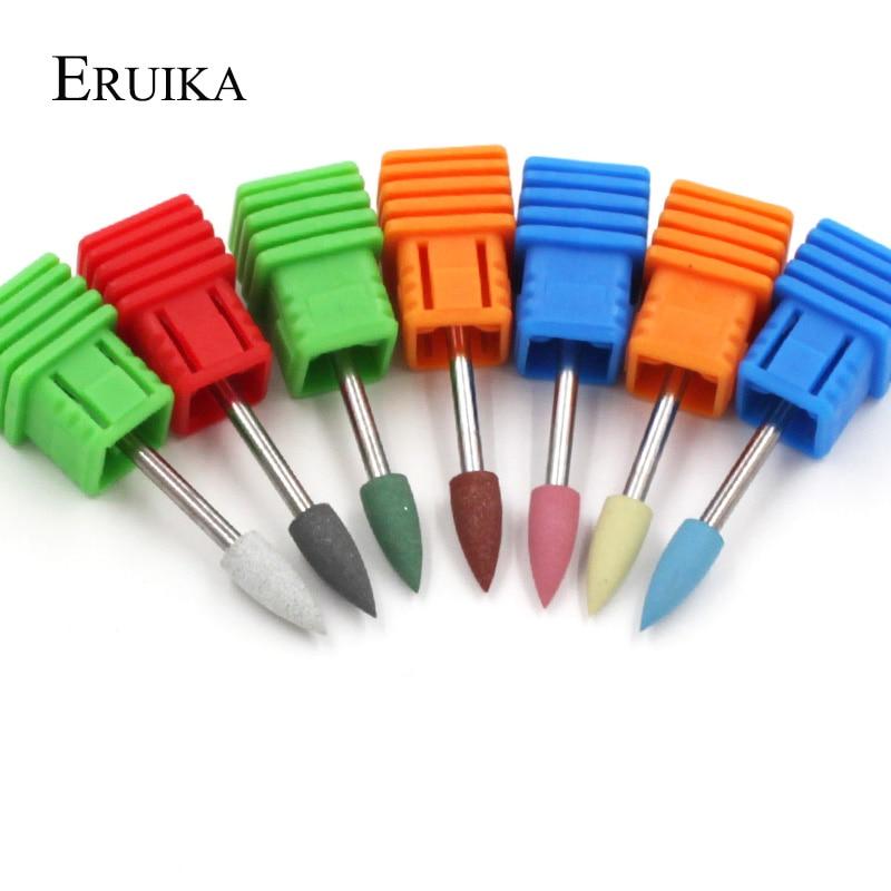 ERUIKA 1PC Bullet Head Rubber Silicon Nail Drills Bit Flexible Polisher Manicure Machine Nail Accessories Nail File Polish Tools