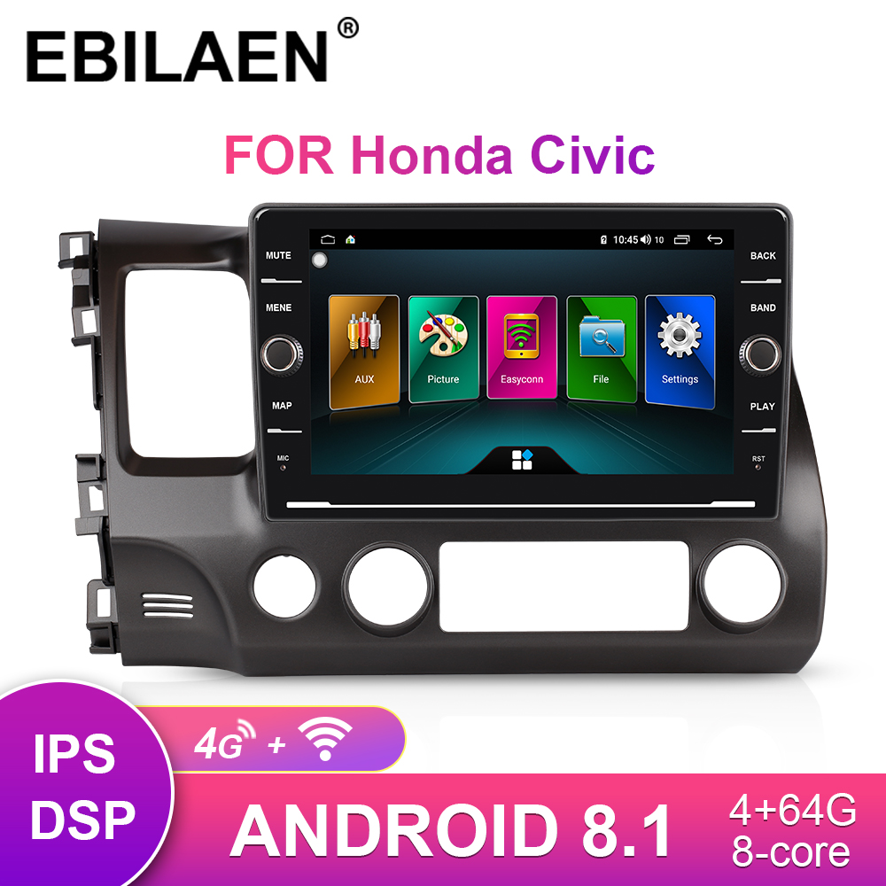 Android 8.1 Car Multimedia Player For Honda CIVIC 8 4d FK FN 2005-2012 2Din Auto Radio GPS Navigation Tape Recorder Head Unit image