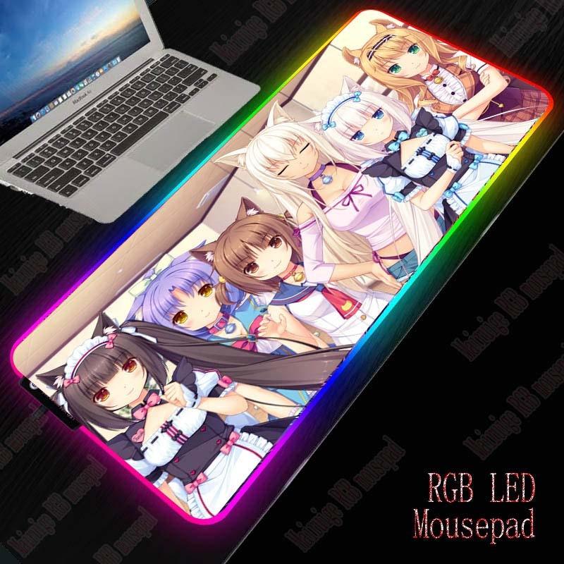 XGZ Anime Girl Gaming Mouse Pad RGB Large Mouse Pad Gamer Big Mouse Mat Computer Mousepad Led Backlight XXL Keyboard Desk Mat 1