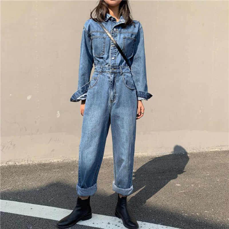 Streetwear estilo feminino denim macacão calças 2020 primavera outono manga longa bodycon jeans macacão perna larga macacões cintura alta