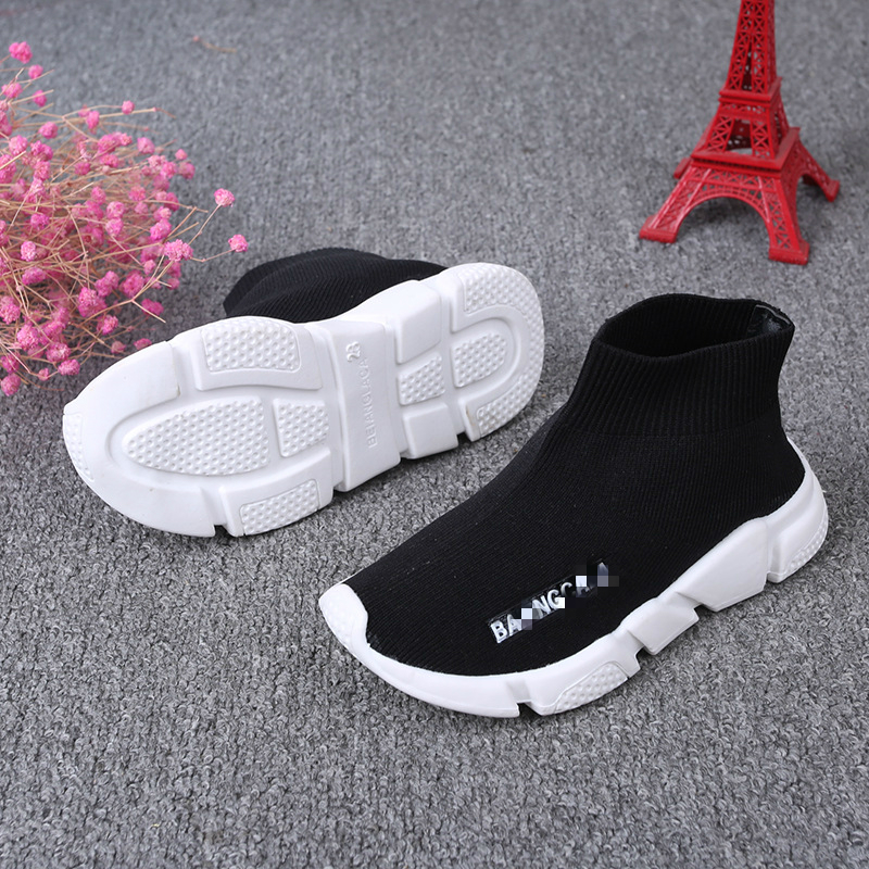 Spring/Autumn Children Sneakers Solid Color Socks Shoes Breathable Boys Sneakers Running Girls Casual Shoes Fashion Kids Shoes