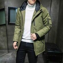2019 new winter jacket thickening long coat cotton mens fashion zipper Velcro casual warm