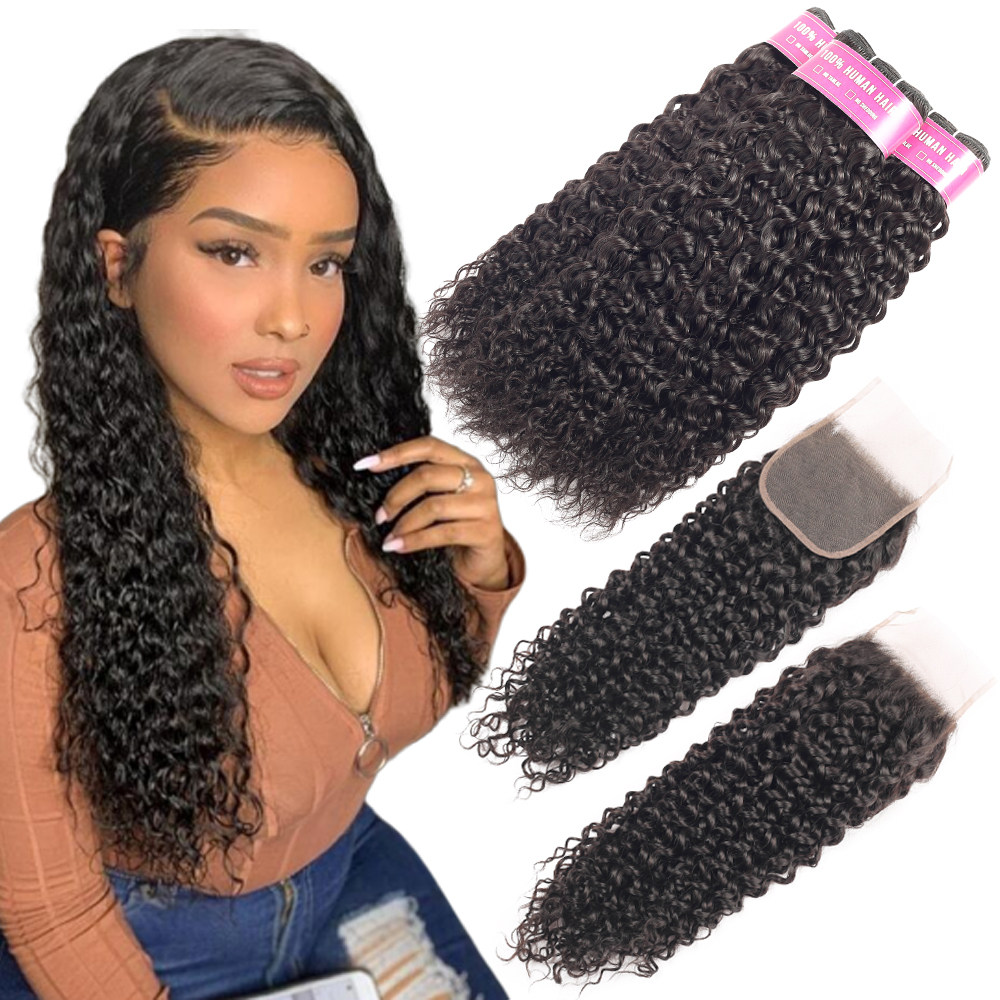 Beaudiva Brazilian Hair Weave Bundles With Closure Water Wave 3 Bundles With Closure Remy Human Hair Bundles With Lace Closure