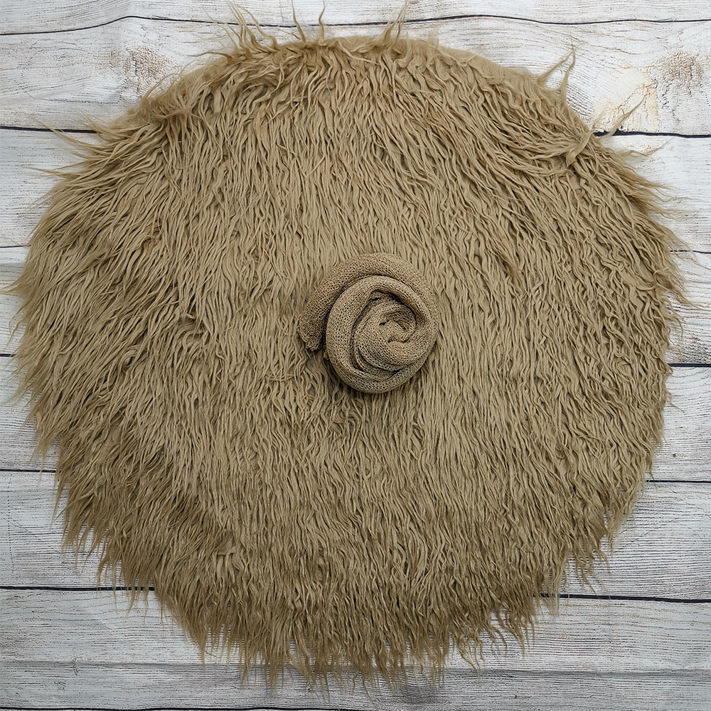 Dia=60cm Soft Long Pile Faux Fur Round Baby Photo Blanket+140*30cm Stretch Knit Wrap for Newborn Photography Props