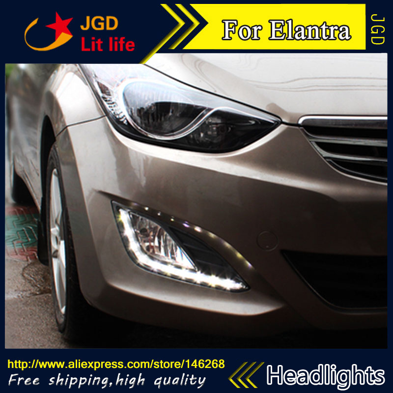Free Shiping ! 12V 6000k LED DRL Daytime Running Light For Hyundai Elantra 2012 2013 Fog Lamp Frame Fog Light Super White