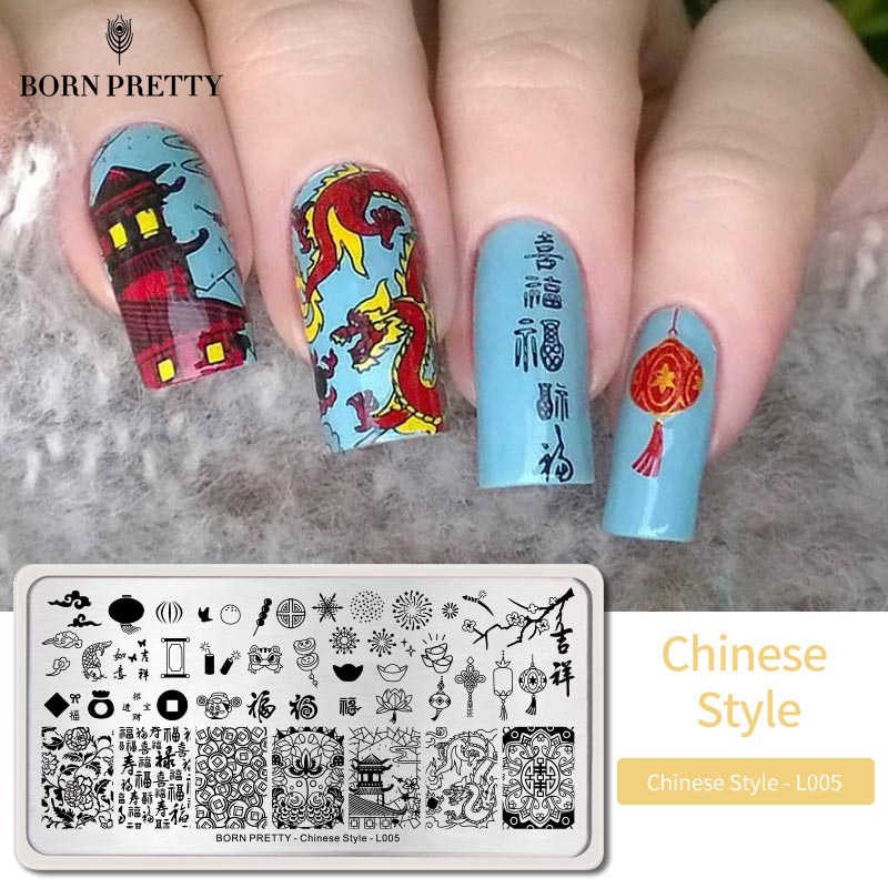 Né joli printemps Festival ongles estampage plaques ongles Art timbre Image modèle chinois Style bricolage ongles conceptions outils d'impression