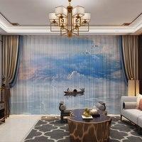 Montanhas paisagem estilo chinês 3d personalizado foto cortinas drapeja painel sheer tule decoração para casa sala de estar quarto