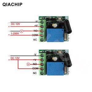 Image 4 - Switch com controle remoto universal QIACHIP, módulo de receptor e relé 1CH de 12V DC, transmissor RF 433Mhz